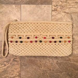 Vintage Boho Gypsy Macrame Knit Beaded Handbag